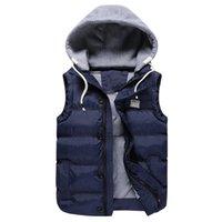 Wholesale Vest Winter Jacket Men - Wholesale- Winter cotton vest male 2016 new men Slim casual hooded vest Fashionable men's large size coat 4XL 5XL winter jacket men