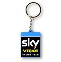 Wholesale Moto Girl - NEW Motorcycle Keychains For Rossi 46 Sky Racing Team Rubber Keyrings VR46 Moto GP Fans Souvenirs Gift For VR46 Rossi