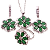 Wholesale Sterling Silver Sets Quality Gift - 925 Sterling Silver Handmade Jewelry Sets Beautiful Flower Natural Green Emerald Necklace Earrings Ring Size 8 Best Quality Free Shipping