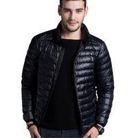 Wholesale Thin Breathable Coat - Men's casual warm Jackets solid thin breathable Winter Jacket Mens outwear Coat Lightweight parka Plus size XXXL hombre jaqueta