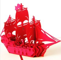 Wholesale Papers For Greeting Cards - Origami 3D Sailing Boat shape Greeting Cards For Birthday Gift Paper laser cut Thank you cards 10pcs lot