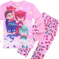 conjunto de pijama personagem meninas venda por atacado-Crianças PJ máscara Pijamas set 4style Meninos e meninas personagem Nightwear Super Hero Pijamas Meninas Pijamas Pijama Do Bebê for3-9t 2 #