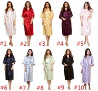 Wholesale Wholesale Robes For Women - 10 colors Long Women Solid Royan Silk Robe bridesmaid robes Aitificial Silk Robe Summer Women Sleepwear silk pajamas for women D829 15pcs
