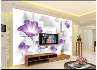 freie wohnzimmerbilder großhandel-3D Wandbilder Tapete benutzerdefinierte Bild Wandbild Wand 3D abstrakte Morning Glory Wohnzimmer Tapete 3D Wandbild Tapete Kostenloser Versand