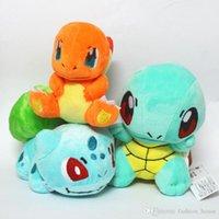 Wholesale Plush Toy Turtle 35cm - 3 style 6 Inch 15cm Poke Figures Plush dolls toys children Pikachu Charmander Bulbasaur Jeni turtle Poke Ball Plush dolls toy