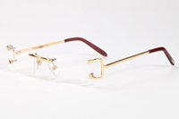 Wholesale Designer Sunglasses Clear Lens - Gafas De Sol 2017 Men Buffalo Horn Glasses Women Frames Rimless Sunglasses Brands Designer Gold Metal Leg Eyewear Brown Clear Lens
