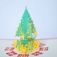 Wholesale Christmas Card 3d - Christmas Cards Birthday Gifts Cards 3D Solid Christmas Tree Hand Made New Year Greeting Card Red Yellow Color Wholesale