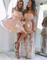 lumière senior achat en gros de-2017 Light Pink Long Style Homecoming Robe De Bal Pour Senior Étudiant Chérie Backless Robe De Cocktail Courte