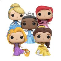 Wholesale Rapunzel Toys Wholesale - 5 types of funko pop beauty and monster princess Ariel Belle Cinderella Rapunzel Tiana Vinyl Figure Collection Model Toys