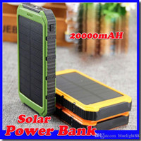 Wholesale free shipping solar power bank online - 12000mAh Power Bank Ultra thin Waterproof Solar Power Banks A Output Cell Phone Portable Charger Solar Powerbank