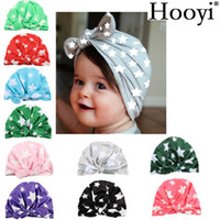 Wholesale Boys Beret Stars - Hooyi Baby Girls Hats Children beanie Berets Infant Caps Rabbit Cotton Stars Boys Hat For Girl Bonot Balaclava Bucket India Hat Hairbands