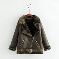 Wholesale Girls Black Fur Coat - Single Fur Fashion Girls Long Leather Jacket Coat Terry Locomotive Lapel Top Warm Deer-skin Lamb Jacket The Knight Coat Slim