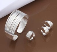 Wholesale Wholsale Silver Rings - Factory price wholsale 925 jewellry silver plated cute jewelry sets necklace bracelet bangle earring ring free shipping G447