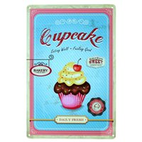 Wholesale Cake Wall Sticker - Cup cake eating well and feeling good Metal Poster Tin Sign Wall decor Bar Retro Painting wall sticker wall art decor home new 20170413#