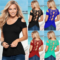 Wholesale Purple Blouses Tops - Retail and wholesale 4 Colors Fashion Women Sexy Summer Short Sleeve Lace Blouse Casual Tops T-Shirt Blouse CL105