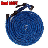 Wholesale Hose Connector Spray - Wholesale-Expendable After Stretched Working Lenght 30M Plastic Connector 100FT Blue Green Garden Water Hose+Spray Gun