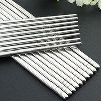 Wholesale Sushi Sticks - Hot Sale 5 Pairs Stainless Steel Sliver Chopsticks Chinese Reusable Non-Slip Hashi Sushi Sticks Kitchen Tableware Sets
