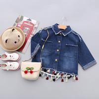 Wholesale Baby Girl Denim Blouse - Everweekend Girls Denim Ripped Tassel Jacket Outwear Vintage Korea Western Fashion Clothing Sweet Lovely Baby Blouse