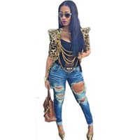 Wholesale Three Quarter Sleeve Down Jackets - Wholesale- 2016 Fashion Women's Sexy Jacket Leopard Printed Turn-down Collar Three Quarter Sleeves Outwear Woman Clothing