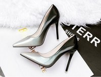 Wholesale korean high heel pumps resale online - Korean version of the tip of shallow mouth with thin women s singles professional patent leather high heels