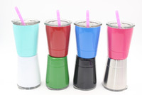 Wholesale Cups Lids Straws - 9colors 8.5oz wine glasses Stainless Steel Tumbler 8.5oz cups Travel Vehicle Beer Mug non-Vacuum mugs with straws & lids