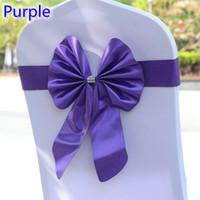 фиолетовые стулья для свадеб оптовых-Фиолетовый цвет стула створки бабочка стиль галстук-бабочку стрейч створки лайкра группа спандекс крышка стула створки для свадьбы Оптовая