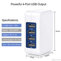 Wholesale New Wall Chargers For Iphone - New 3.1A 15W High Speed 4 Port USB Wall Charger Portable Travel Charger Power Adapter with Folding Plug for iPhone 7 Plus iPad Android