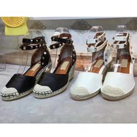Wholesale Espadrille Sandals - closed toe backle strap wedges platform sandals women genuine leather white black drop shipping 2017 summer new casual all match espadrille