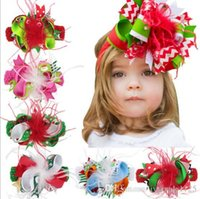 Wholesale Hair Bows Feathers - 6-color Christmas baby girl cany color big bow feather headband Design Hair bowknot Children Headwear Kids Baby Christmas Day Hair Accessory