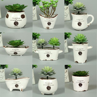 Wholesale Flowers Ferns - Creative ceramic flower pot retro fleshy meat plant pots hand pinch flower potted ferns pot special offer