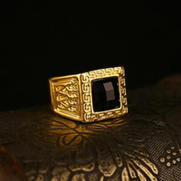 Wholesale New Fashion Trendsetter K Gold Plated Hip Hop Finger Rings High Quality Jewelry for Men Size