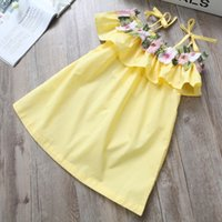 Wholesale kids blouse embroidery - New Girls Shirt Embroidery Flower Ruffle Braces Tops Dress Summer Sleeve less Kids Boutique Clothing Korean Girls Off Shoulder Long Shirts