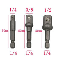 Wholesale 3PCs set chrome vanadium steel socket adapter Seth hex shank to quot quot quot Wrench Sleeve extension drill bits hex bit set power tools