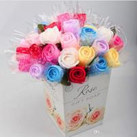 Wholesale Towel Favors Weddings - New fashion Wedding Birthday Favors Gifs Simulation flower rose cake towel 20*20cm Square Towel Cake Creative Gifts