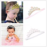 Wholesale princess props - Baby Headbands Gold Silver Crown Sparkle Bands Girls Kids Elastic Star Hairbands Princess Tiara Headband Accessories Photo Props KHA161
