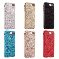 Wholesale Apples New York - KS New York Glitter hard phone cases 6 Colors Black Silver Red Rose Gold Blue for iPhone 6 6S 7 Plus come with logo Retail box