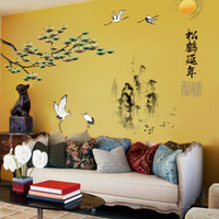 Wholesale tree branches wall stickers - Pine Tree Branches Chinese Style Mountains Crane Calligraphy Wall Sticker Living Room Bedroom Background Retro Decoration Wallpaper Poster
