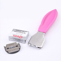 Wholesale Hard Skin Shaver Blades - New Foot Rasps Callus Corn Cuticle Hard Skin Remover Pink Stainless Steel Shaver Foot Pedicure Kit with 10 Blade Foot Care 2017
