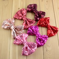 Wholesale Luxurious Baby Headband - free shipping 10pcs 24Color 4.5in Kids Luxurious Sequin Bowknot Baby Hair Beauty Bows Baby Head Flowers Girls Big Bow-tie Accessories H0178