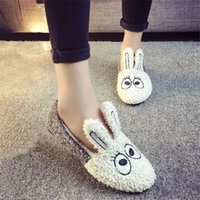Wholesale Girl Rabbit Canvas Shoes - Wholesale- Hot Sale Women Winter Slippers Rabbit Shape Ladies Girl Woman Home Indoor Floor Warm Slipper Non-Slip Shoes Covered Heel Shoe