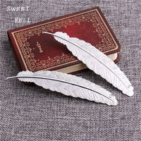 Wholesale Pendant Book - Min order 10pcs 23*114mm copper Silver BIG Feather Plumage Charms Pendants Bookmark For Books For DIY Jewelry Making Findings D6136