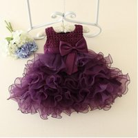 Wholesale Clothes For Baptism - 2017 Summer Newborn Formal Dress Purple Sleeveless Infant Baptism Ball Gown Dress Clothes For Toddler Girl First Birthday Party MSG055