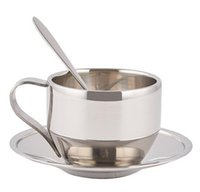 Wholesale Mug Spoon Saucer - NEW 120ml high quality stainless steel coffee cup saucer and spoon set stainless steel double wall coffee mug