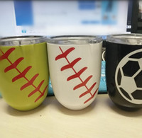 Stainless Steel black powder coating - Baseball Softball Basketball Egg Cup Printed Stemless Wine Mugs Styles Powder Coated Stainless Steel Wine Glass Beer Cup With Lid OOA2265