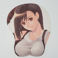 Wholesale Breasts Silicon - Black Tifa Lockhart Anime Mouse Pad Gaming Mouse Pad Sexy Big Soft Breast 3D Mouse Pad Wrist Rest