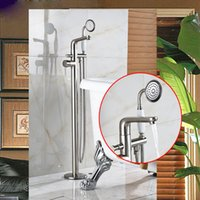 Wholesale Waterfall Tub Faucet Polished Brass - Wholesale And Retail Brass Brushed Nickel Waterfall Spout Bathroom Tub Faucet Mixer Tap with Standing set Polished