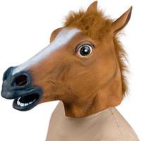 silicone face realista venda por atacado-New Horse cabeça máscara traje Dia das Bruxas assustador Fur Mane Latex Máscara Facial Cabeça completamente realista para Mulheres Homens Brown Cor