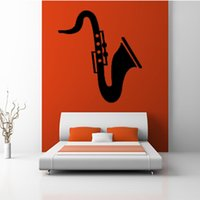 Wholesale Headboard Wall Sticker - 2017 Saxophone Wall Decals Bedroom Headboard Decorative Musical Instrument Vinyl Wall Sticker