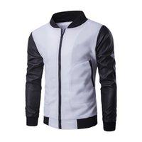 casaco preto manga manga venda por atacado-Brasão homens Design de Moda Nova branco Baseball Jacket Preto Pu Couro luva magro dos homens zipper bombardeiro Outono Jacket Inverno Marca Homme