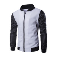 ingrosso uomini di giacca di pelle bianca di marca-Cappotto da uomo Fashion Design New bianco Giacca da baseball Nero Pu Leather Sleeve Uomo Slim zipper bomber Autunno Inverno Giacca marca Homme